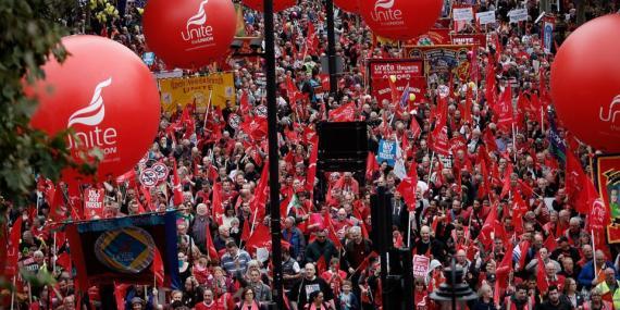 Una protesta por los derechos de los trabajadores en Londres, octubre de 2014.