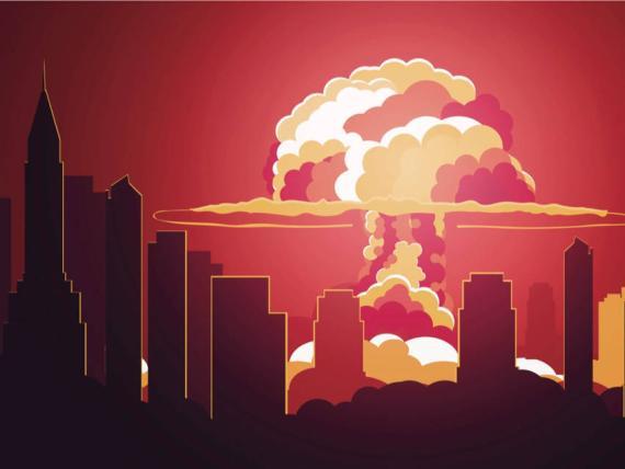 Una ilustración de una explosión nuclear en una ciudad.