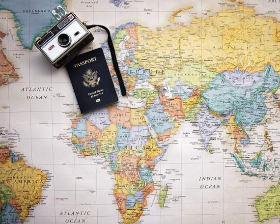 mapa del mundo, pasaporte