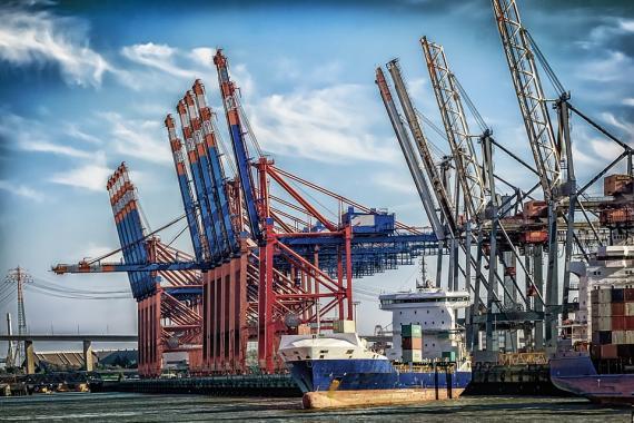 El puerto de Hamburgo, Alemania