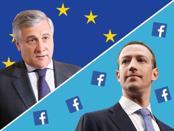 Antonio Tajani, presidente del Parlamento Europeo, y Mark Zuckerberg, CEO de Facebook.