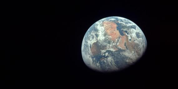 Apollo 11 astronauts took this photo of Earth on July 20, 1969.