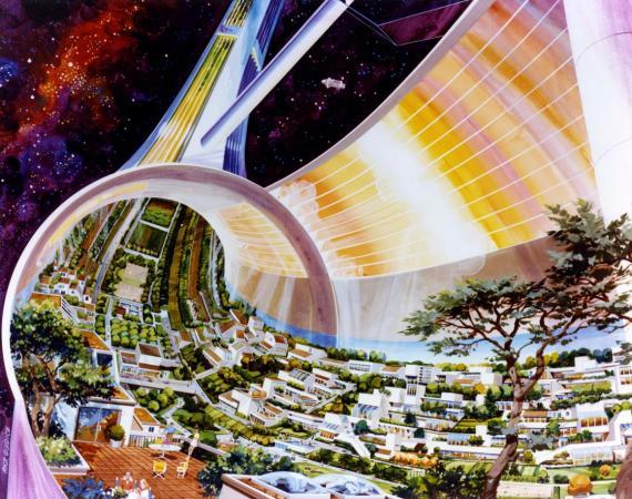 La ilustración de la NASA de una futura colonia espacial.