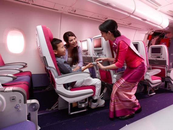 Cabina de clase turista de Thai Airways
