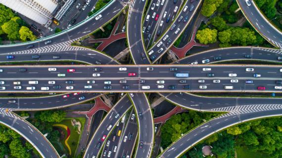Vista aérea de la autopista de Shangai.