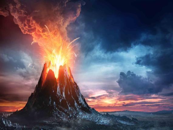 lava en un volcan