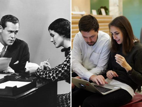 La ropa de trabajo para hombres y mujeres ciertamente ha cambiado mucho desde la década de 1950.