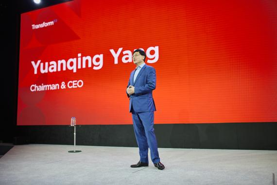 Yuanqing Yang, CEO de Lenovo, en el Lenovo Transforms 2.0 de Nueva York.