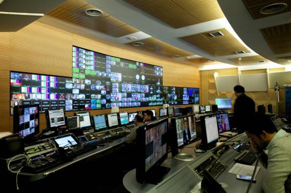 Control central en Mediaset en Madrid.