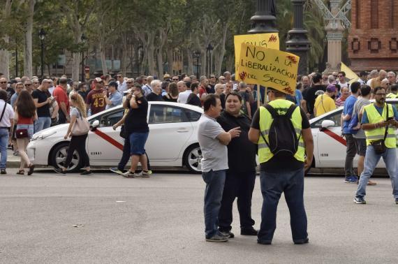 Una imagen de una manifestación de taxistas en Barcelona.