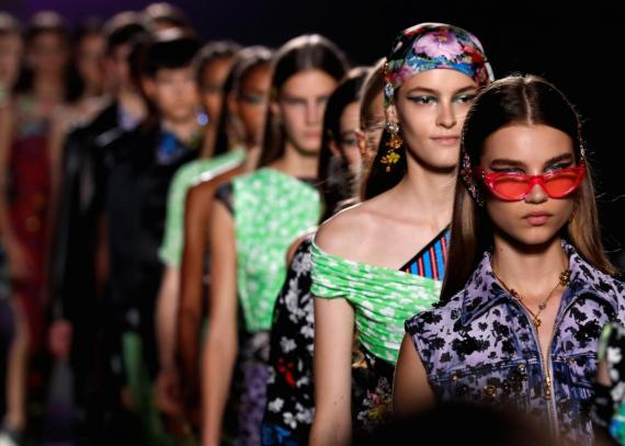 Models present creations at the Versace show during Milan Fashion Week Spring 2019 in Milan, Italy.