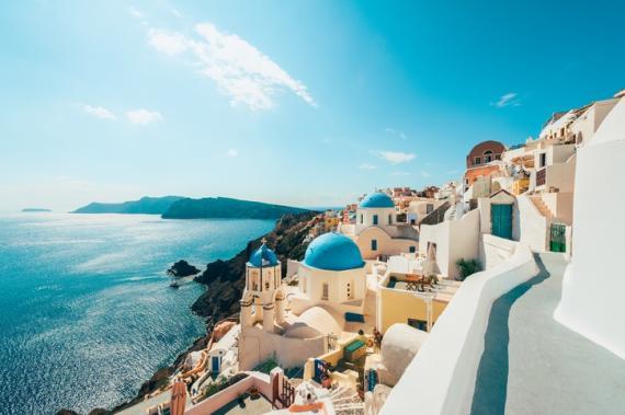 La isla griega de Santorini.