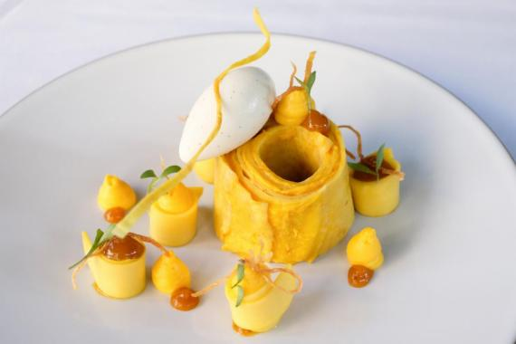 A dessert from the one-starred Café Boulud in Manhattan.