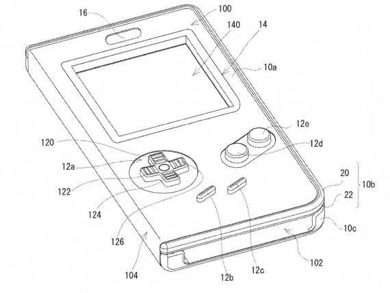 A design sketch for Nintendo's planned Game Boy phone case.
