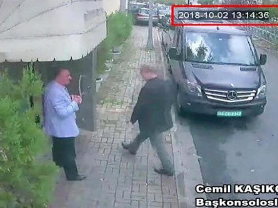 Surveillance footage published by Turkish newspaper Hurriyet purports to show Jamal Khashoggi entering the Saudi consulate in Istanbul on October 2.