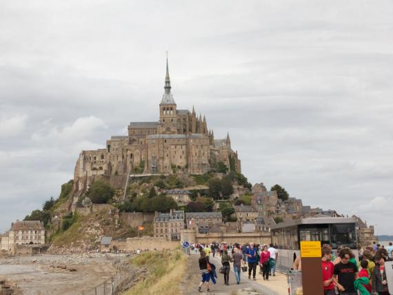 I didn't take a picture of the crowds (who wants to remember that?), but this photo shows both the beauty of Mont Saint-Michel and the flood of tourists approaching.