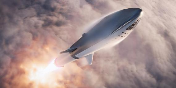 An illustration of SpaceX's Big Falcon Rocket, or BFR.