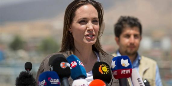 Angelina Jolie at a press conference in the Domiz camp for Syrian refugees.