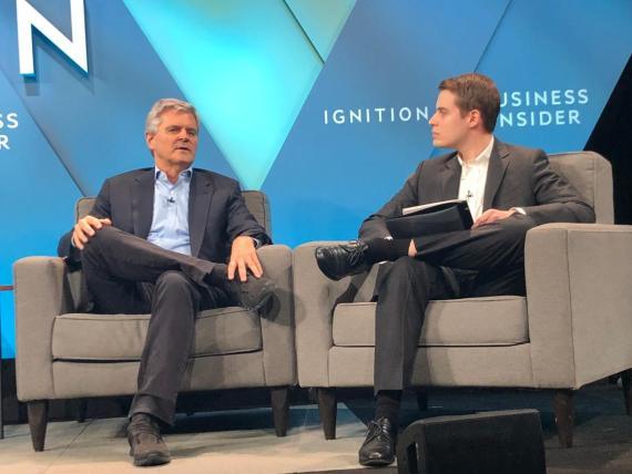 """Entrevisté al cofundador de AOL, Steve Case, a la izquierda, acerca de su iniciativa """"Rise of the Rest"""" en la conferencia Business Insider Ignition de este año."""
