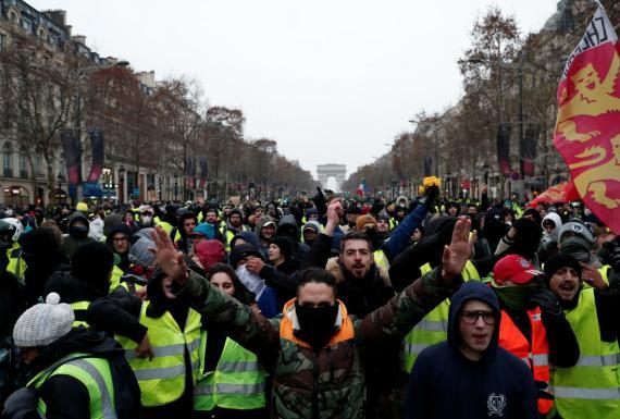 Una manifestación de los chalecos amarillos en París