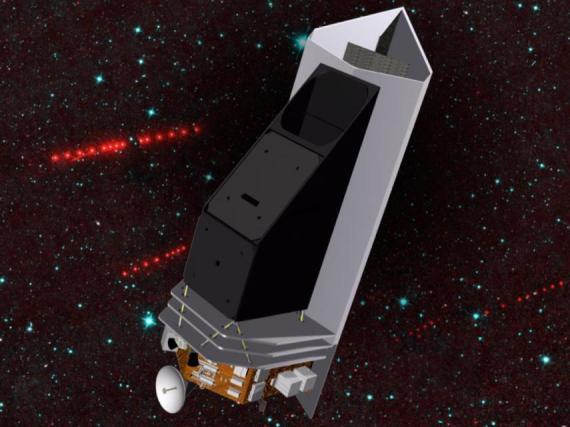 Un concepto artístico del telescopio para la caza de asteroides NEOCam.