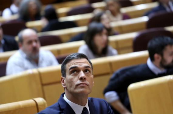 Pedro Sánchez, presidente del Gobierno, en el Senado.