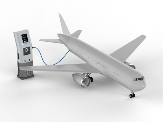 Ilustración de un avión conectado a un punto de carga.