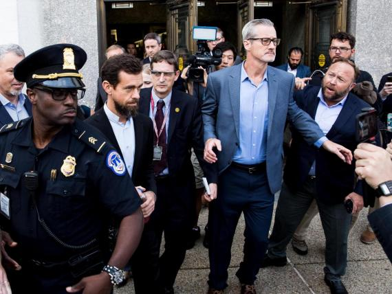 Twitter CEO Jack Dorsey mobbed in Washington.