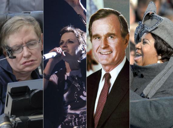 De izquierda a derecha: Stephen Hawking, Dolores O'Riordan, George H W Bush y Aretha Franklin.