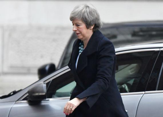 Theresa May, entrando en Downing Street.