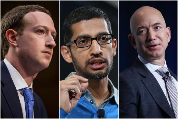 Mark Zuckerberg, Sundar Pichai, y Jeff Bezos.