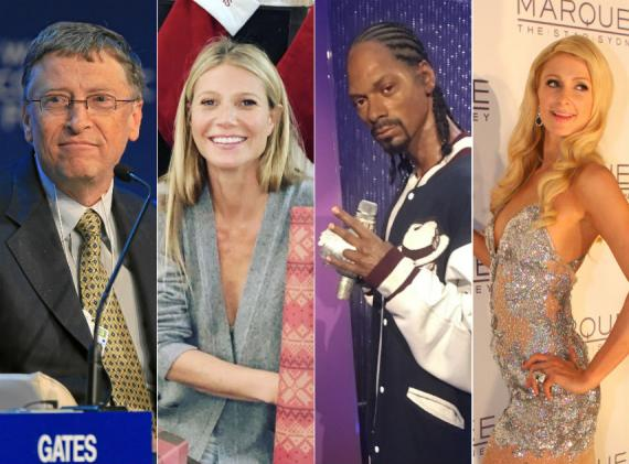 Bill Gates, Gwyneth Paltrow, Snoop Dogg y Paris Hilton.