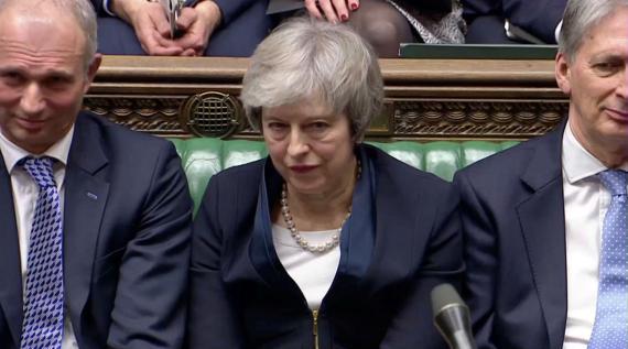 Theresa May, durante la votación del acuerdo del Brexit.