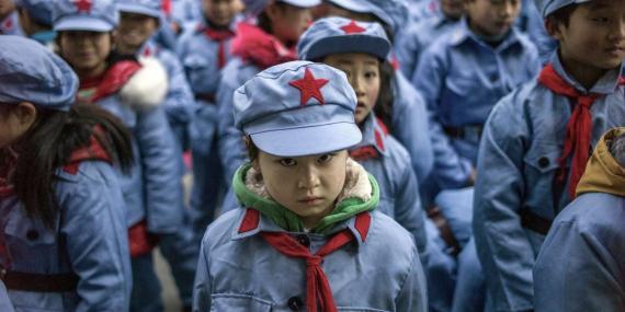 Children wearing uniforms in China.