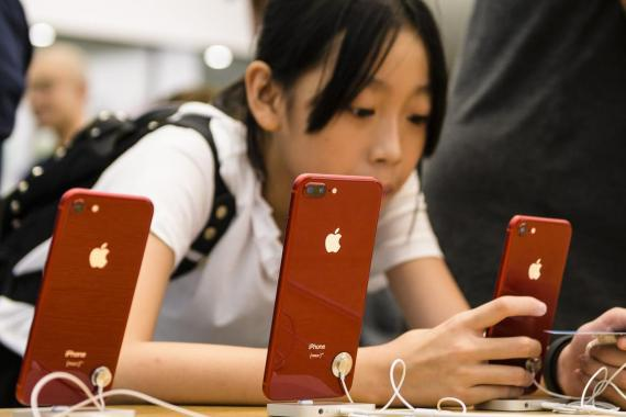 Chinese clients visit the Apple Store to purchase Apple products in Hong Kong Kowloon District on August 03 2018 in Hong Kong.