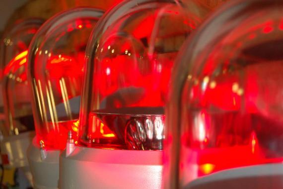 Flashing red lights.