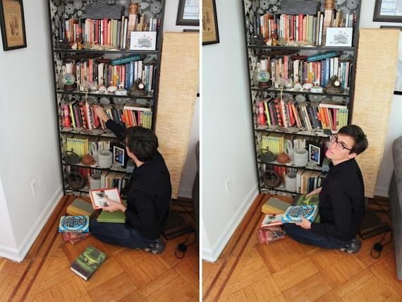"""Me, seeing which of my books """"spark joy."""""""