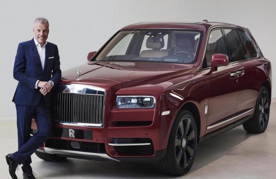Rolls-Royce Motor Cars CEO Torsten Müller-Ötvös with the new Rolls-Royce Cullinan.