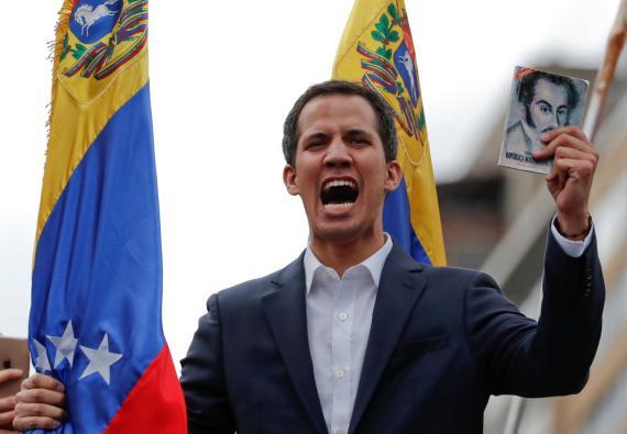 Juan Guaido, presidente de la Asamblea Nacional de Venezuela,durante un mitin contra el gobierno del presidente venezolano Nicolás Maduro en Caracas, Venezuela, 23 de enero de 2019.