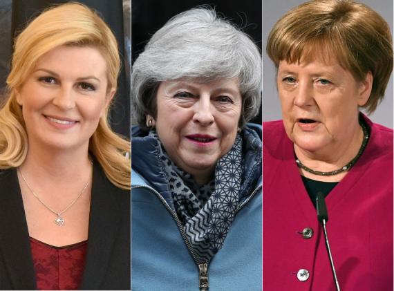 Kolinda Grabar-Kitarović, Theresa May y Angela Merkel.