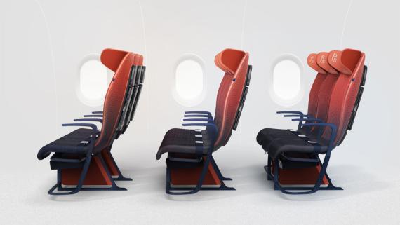Asientos para clase turista Airbus, diseño Layer