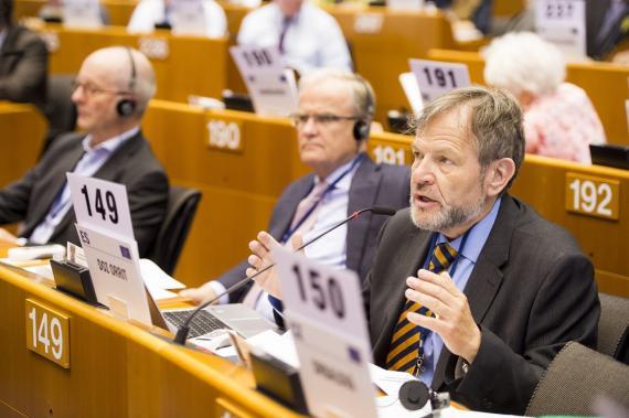 Javier Doz, consejero del CESE, durante una Sesión Plenaria