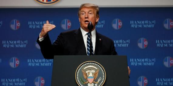 El presidente de EEUU, Donald Trump, en una conferencia de prensa tras la cumbre con Kim Jong-Un.