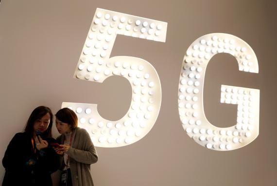 Un cartel de 5G en el MWC 2019 de Barcelona.