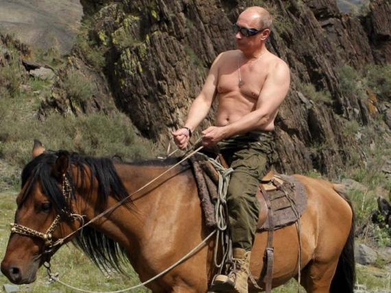 Vladimir Putin, a lomos de un caballo.