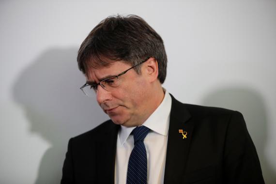 Carles Puigdemont, durante una rueda de prensa en Berlín en febrero de 2019.