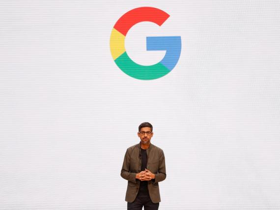 Google CEO Sundar Pichai speaks during the Google keynote address at the Gaming Developers Conference in San Francisco