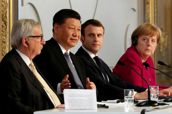 Jean-Claude Juncker, Xi Jinping, Emmanuel Macron y Angela Merkel.