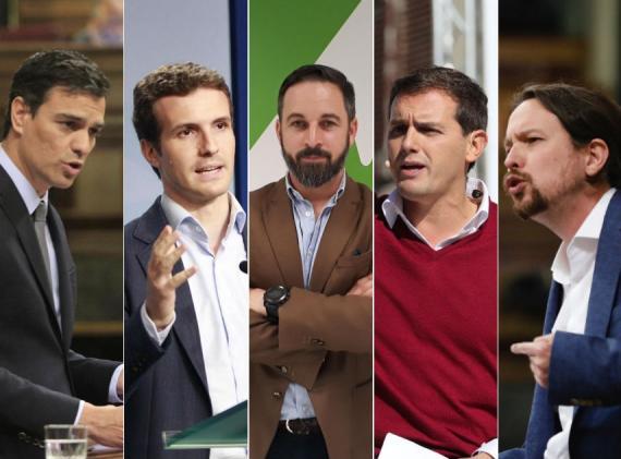 Pedro Sánchez, Pablo Casado, Santiago Abascal, Albert Rivera y Pablo Iglesias.