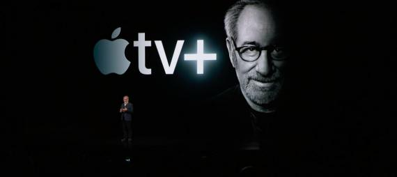 Steven Spielberg at the Apple special event on Monday, March 25.